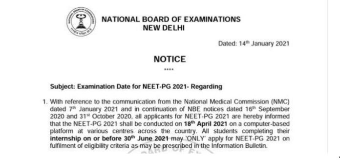 NEET PG 2021: National Board of Examination announced, NEET PG exam to be held on April 18